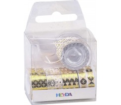 Pack de 4 Washi Tape con Alicador Oro 12 mm