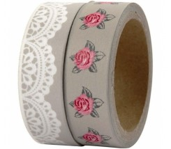 Pack de 2 Washi Tape Plata y Flores 15 mm - 2 x 5