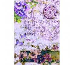 Papel de Arroz Decorado 35 x 50 cm Violet Musical