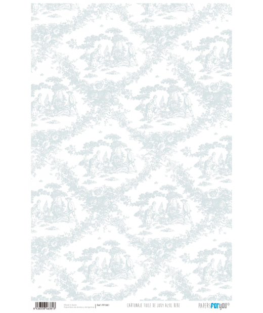 Papel Cartonaje 32 x 48,3 cm Toile de Jouy Azul Be