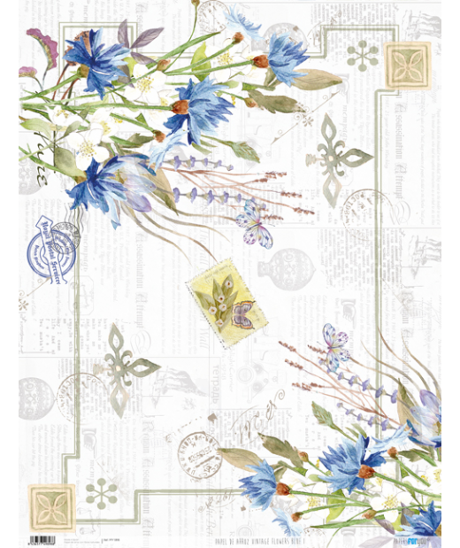 Papel de Arroz  54 x 70 cm Vintage Flowers Blue