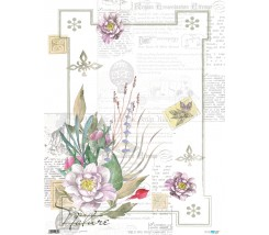 Papel de Arroz  54 x 70 cm Vintage Flowers White