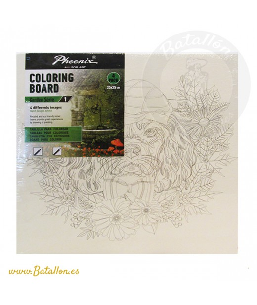 Pack 4 Tablillas para Colorear 25 x 25 cm Garden