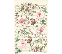 Papel de Arroz Decorado 33 x 54 cm Musical Flowers