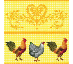 "Servilleta ""Gallo sobre amarillo"" 33 x 33 cm."