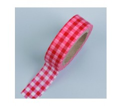 "Washi tape cuadros rojo rosa 15mm. ""Efco"""