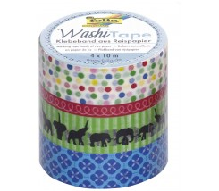 "Pack de 4 Washi tape estampados y animales ""Folia"""