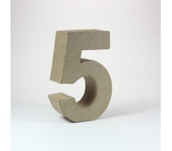 Numeros Mache Mini Cinco - H 5 X B 3,8 X T 2 cm