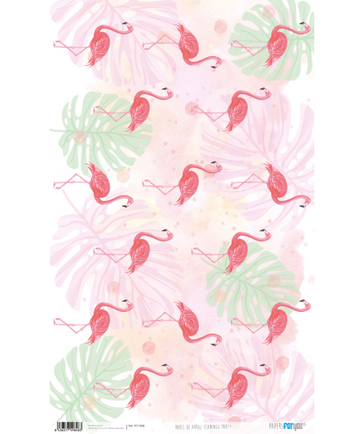 Papel de Arroz Decorado 33 x 54 cm Flamingo Party
