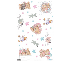 Papel de Arroz Decorado 33 x 54 cm Sweet Bears