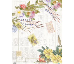 Papel de Arroz  54 x 70 cm Vintage Flowers Yellow